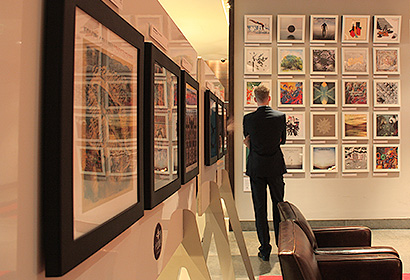 contemporary vinyl record sleeves in black and white LP frames in an exhibition